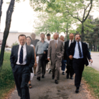 Prinicipal Paul and Others on Scarborough Campus Walkway