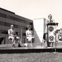 Margaret Birch, President J. M. Ham and Others at Groundbreaking Event for V.W. Bladen Library