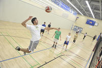 Gynasium with volleyball court and players, University of Toronto at Scarborough (UTSC)