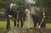 Ground breaking ceremony, Robert Birgeneau, 14th president of the University of Toronto with group, Academic Resource Ce...