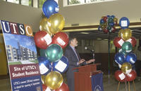 Ground breaking ceremony, speaker at ceremony Academic Resource Centre, University of Toronto at Scarborough (UTSC)