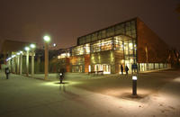 Building exterior at night, Academic Resource Centre, University of Toronto at Scarborough (UTSC)
