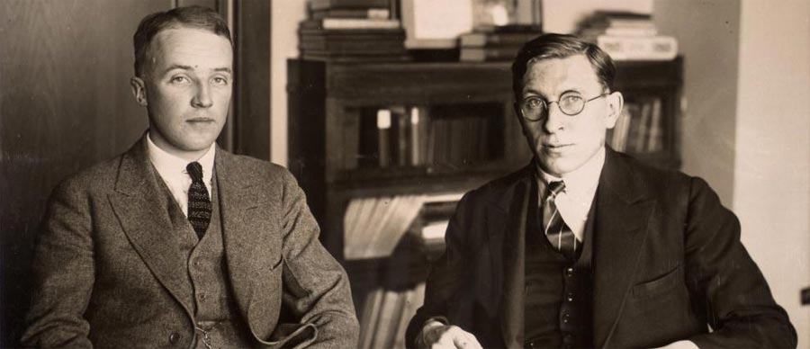 C. H. Best and F. G. Banting,  discoverers of insulin, ca. 1924 from the Thomas Fisher Rare Book Library collections
