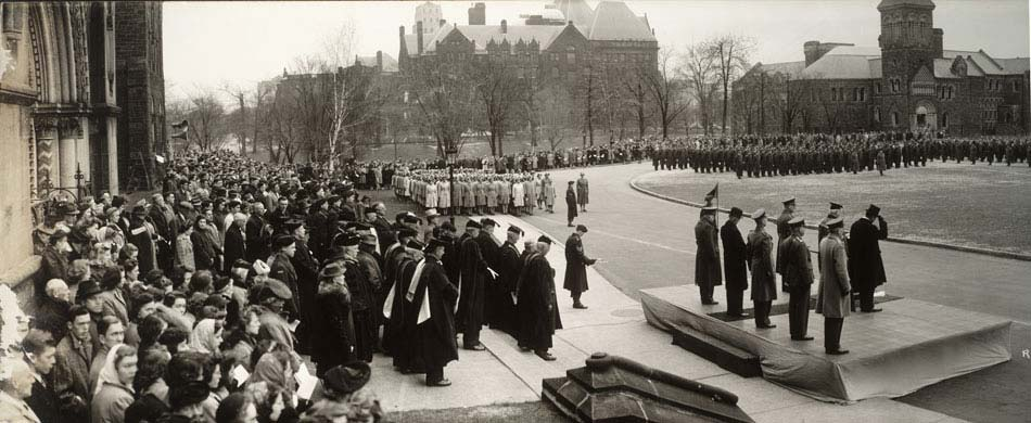 Remembrance Day Services, King's College Circle, 1942, from the University of Toronto Archives Image Bank collection