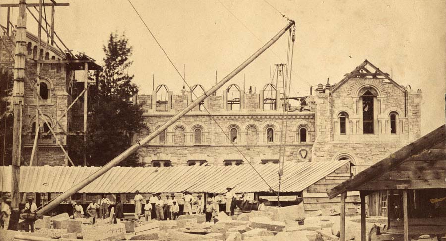 University College South Facade under construction, 1858, from The University of Toronto: Snapshots of its History exhibit