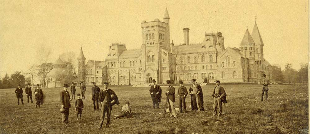 Students on the front campus, University College, ca. 1880, from the University of Toronto: Snapshots of its History exhibit