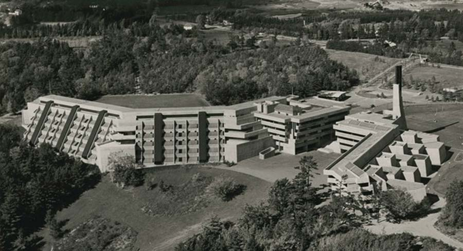 Aerial shot of Scarborough College, 1966, from the UTSC Archives Legacy Collection
